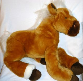 Large Animal Alley Horse Pony Plush Stuffed Animal Brown Tan White