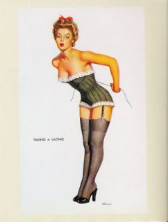 Pin Up Girl Art Postcard DAncona Taking A Lacing Sexy in Corset