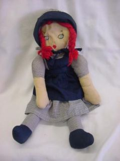 Vintage 1950s Cloth Doll Raggedy Ann w/ Bonnet
