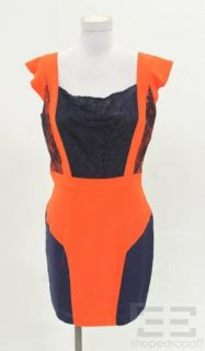 ani lee orange navy lace cap sleeve dress size 8 new
