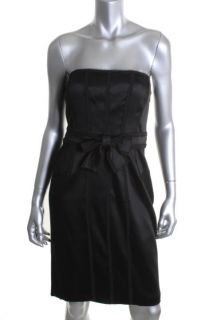 Anne Klein New Black Strapless Ribbon Lined Knee Length Cocktail
