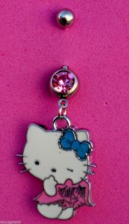 Pink Cute Naughty Angel 316L Surgical Steel Belly Button Ring