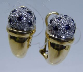 Italy Antonini 18K Gold Sapphire Diamond Earrings Designer Jewelry
