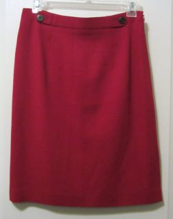 Ann Taylor Red Lined Wool Knee Length Straight Pencil Skirt Size 10
