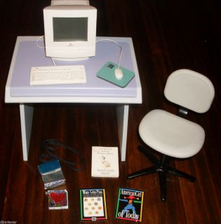 Girl Working Macintosh Apple Computer Desk Chair Mouse More