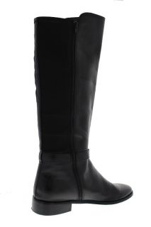 Anne Klein New Catriona Black Leather Stretch Flat Knee High Boots