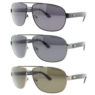 Emporio Armani Mens Polarized Aviator Sunglasses