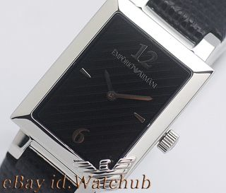 Emporio Armani Classic Ladies Black Leather Strap Watch