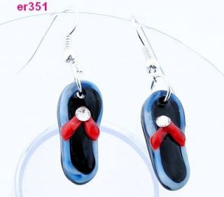 Pair Shoes Shape Art Glass Murano Lampwork Murano beades Earrings