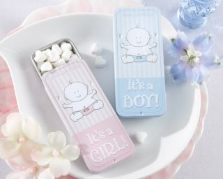 Kate Aspen Baby Shower Its a Boy or Girl 12 Slide Mint Tins Pink or