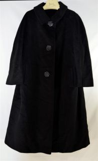 Vintage Black Thick Wool Womans Coat with 3 Large Carved Flower