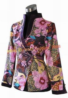 Chinese Traditional Flower Jacket Coat Hot Pink WHJ 117