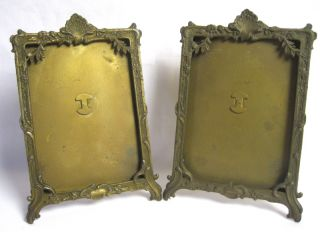 Pair Antique French Art Nouveau Ormolu Photo Frames Rococo Gilt Bronze