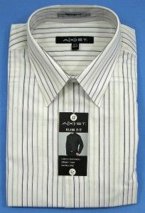 new mens axist slim fit ls dress shirt white stripes