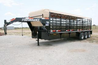 New 24 Gooseneck Livestock Cattle Trailer w 7K Axles