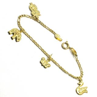 Gold 18K GF Chain Link Little Bracelet Girl Baby Charms Elephant Owl 5