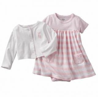 Carters Baby Girl Clothes Set Cardigan Dress White Pink 6 9 12 Months