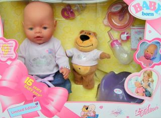 Zapf Birthday Baby Born Magic Eyes Girl Doll Teddy Bear