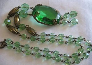 1930s Czech Apple Green Glass Dangle Art Deco Necklace Signed