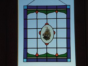 RARE Antique Dutch Nautical Stained Glass Window Panel