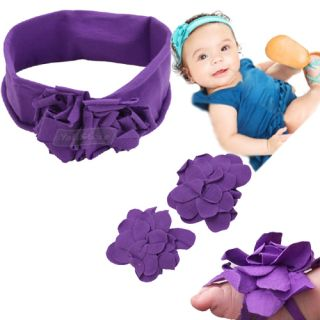 baby boys girls kid purple flower headband baby barefoot socks