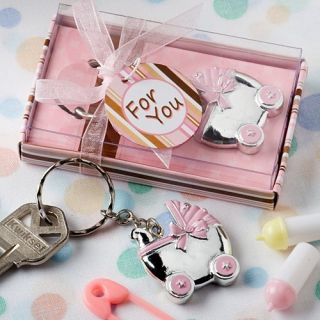 24 Pink Baby Carriage Keychain Baby Shower Favor