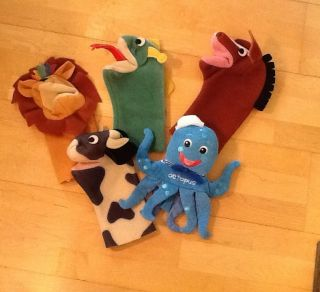 Piece Lot of Baby Einstein Hand Puppets Lion Octopus Lizard Dog Cow