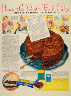 1933 Ad Bakers Chocolate Devils Food Cake Recipe Pie Cocoa Products