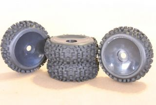 RC 1/8 CAR BUGGY TRUCK TIRES WHEELS RIMS PACKAGE DISH KNOBBY
