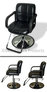 Hydraulic Barber Chair Styling Salon Work Station Chair Black Leather