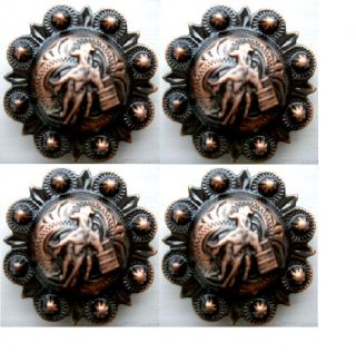 Cowboy Horse Barrel Racing Rider Conchos Saddle Headstall Tack Rodeo