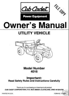 cub cadet owners manual model 4016 utility vehicle time left