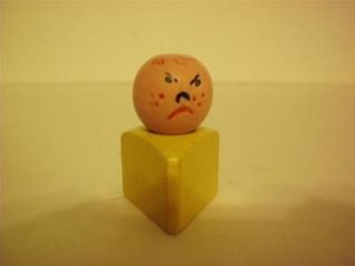 Vintage Fisher Price Little People Wooden Triangle Angry Child