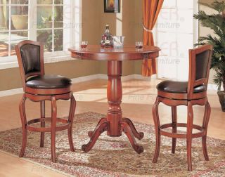 harrison cherry pub table and bar chairs set by coaster