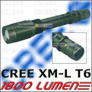 1800 LUMENS CREE XM L T6 LED ZOOMABLE FLASHLIGHT 2x 18650 TORCH LAMP