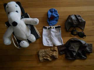 Vintage Lot Plush Snoopy Chair Flying Ace Outfit More Clothes