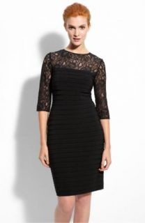 NWT Adrianna Papell Lace Shutter Pleat Black Cocktail Dress 4