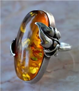 1930s Large Art Deco Baltic Honey Amber Sterling Ring 14g