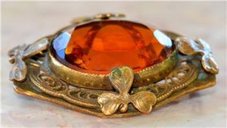 Amazing RARE 1895 Art Deco Nouveau Bronze Amber Glass Irish Shamrock