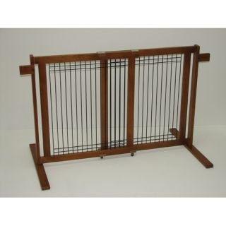 Crown Pet Products Freestanding Wood Wire Pet Gate