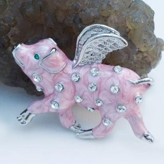 Angel Pig Wing Piggy Brooch Pin Pink Rhinestone Crystal Enamel Animal