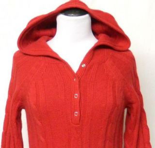 Moda Size s Red Hood Sweater Dress Angora Rabbit Hair Blend Henley