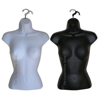 Torso Black   White Mannequin Forms Set   Great For S M Clothing Sizes