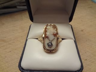 Best Antique Victorian 14K Yellow Gold Diamond Cameo & Onyx Flip Ring