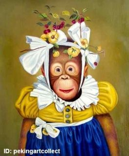 Modern Hot Art Oil Painting Animal Monkey Madam Dress Portrait 24x36