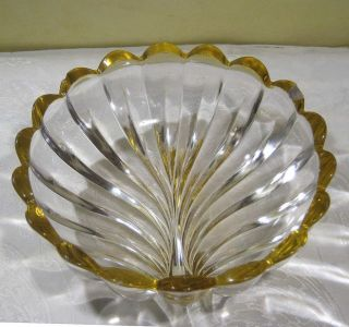 Vintage 1930s Art Deco Shell Design Glass Bowl Scalloped Edge