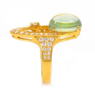 18K Yellow Gold Aquamarine Diamond Ring