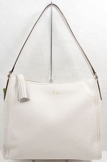 NEW KATE SPADE SOUTHPORT AVENUE AURELIA IVORY PEBBLED LEATHER HOBO BAG