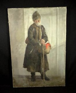 29 Antique Imperial Russian Russia Cossack Old Man Portrait Oil