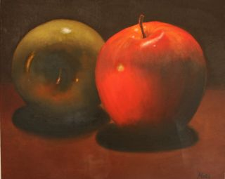 Oil Painting Hand Painted Canvas Art 2 Apples by Miri Baruch